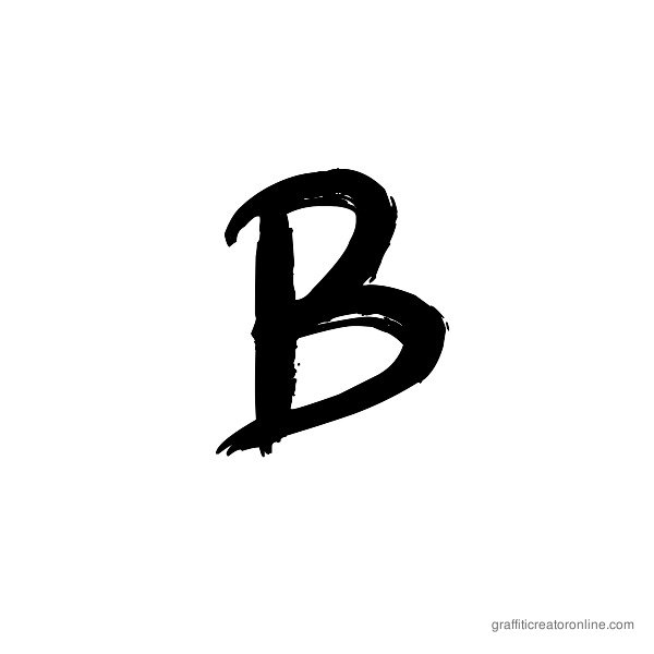 Graffiti Paint Brush Font Alphabet B