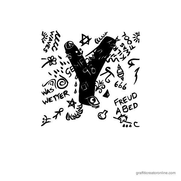 Trashed Font Alphabet Y