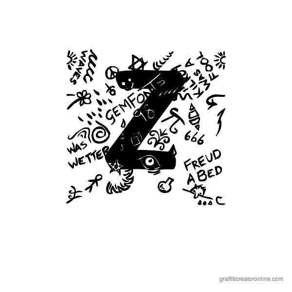 Trashed Font Alphabet Z