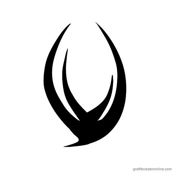 Tribal Font Alphabet V